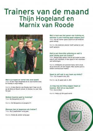 Trainers van de maand Thijn en Marnix